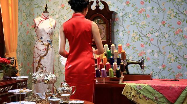 传统旗袍设计旗袍之襟图片